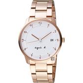 agnes b. 法國時尚藝術腕錶-白x玫塊金/38mm VJ42-KZ30P(BS9002J1)