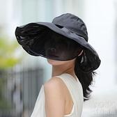 遮陽帽 空頂遮陽帽女春夏休閑出游防紫外線大檐遮臉防曬面罩太陽帽露馬尾 快速出貨