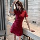 襯衫洋裝 流行女裝法式復古氣質收腰顯瘦翻領襯衫裙短袖遮肉連身裙-Ballet朵朵