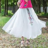 半身洋裝 新款夏裝民族風文藝半身裙女鬆緊腰舒適長裙白色 印花大擺裙 唯伊時尚