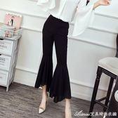 夏裝新款韓版時尚高腰顯瘦雪紡拼接喇叭褲修身百搭九分褲子女艾美時尚衣櫥