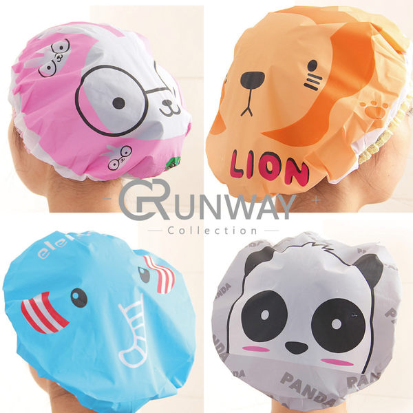 【R】日系 可愛 卡通 防水 洗澡 浴帽 時尚 印花 沐浴帽 加大 加厚 洗澡 護髮帽