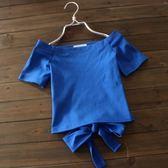 一字肩 性感漏鎖骨短袖一字肩 T恤露臍高腰綁帶緊身上衣夏季新款小衫女潮 瑪麗蘇