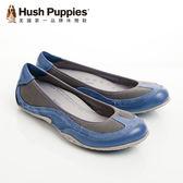 Hush Puppies 真皮流行色彩透氣舒適平底女鞋-藍(另有紫、褐咖)