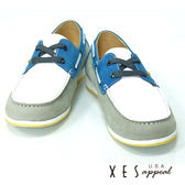 XES 男鞋 休閒百搭 男款拼接撞色 帆船鞋 帥性藍
