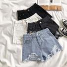 淺色牛仔短褲女高腰夏季新款韓版寬鬆破洞毛邊顯瘦ins熱褲潮