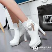 短靴粗跟高跟鞋防水臺蝴蝶結水鉆馬丁靴韓版女鞋 Xdpj57