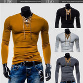 拼接V領男士T恤 打底衫長袖修身T恤 E2843