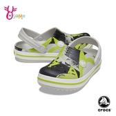 Crocs卡駱馳 男童洞洞鞋 童鞋 中小童 園丁鞋 防水布希鞋 花紋 智必星 A1758#灰綠◆OSOME奧森鞋業