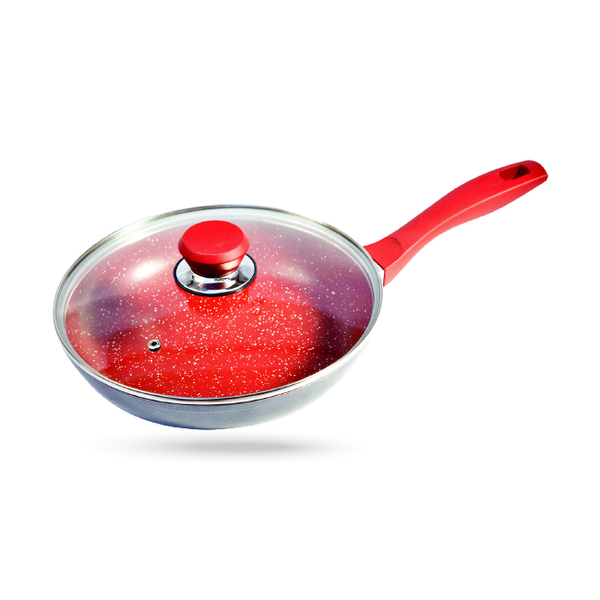 美國 FlavorStone 紅寶石超耐磨不沾鍋( 28cm平底快炒鍋含鍋蓋)