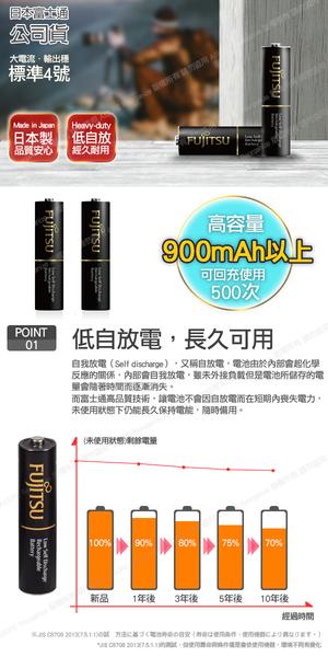 日本製 Fujitsu富士通 低自放電高容量900mAh充電電池HR-4UTHC (4號8入)+專用儲存盒*2