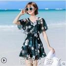海波特泳衣女2021新款遮肚顯瘦仙女范連體裙式保守韓國ins泡溫泉 蘿莉新品
