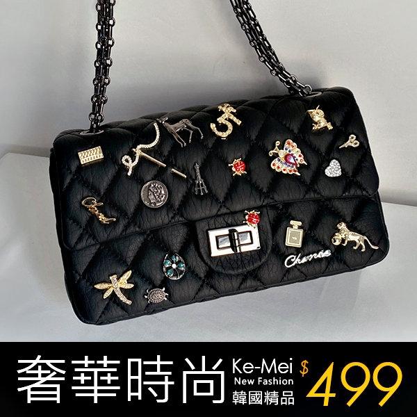 克妹Ke-Mei【ZT64126】KOREA韓國小香風多金屬徽章菱格鐵鍊包