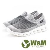 W&M 飛線編織布襪套式時尚休閒鞋 男鞋-灰(另有黑)