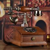 時尚創意旋轉電話機仿古歐式田園復古電話機家用實木座機辦公電話igo   蜜拉貝爾