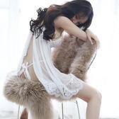 極度誘惑白色透視薄紗性感睡衣情趣內衣服騷透明蕾絲開襠火辣睡裙