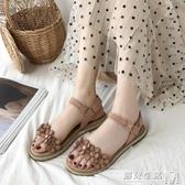 花朵一字涼鞋女仙女風平底鞋夏季新款學生百搭沙灘鞋女ins潮 遇见生活