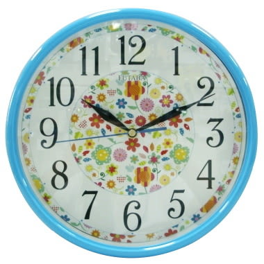 浪漫花卉繽紛藍10吋時鐘