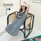 【HC5199】直條紋 雙口袋 寬版吊帶裙