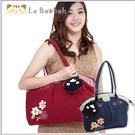 側背包~啵啵貓日系貓咪包 啵啵貓清新氣質小花側背包/肩背包/手提包/拼布包包