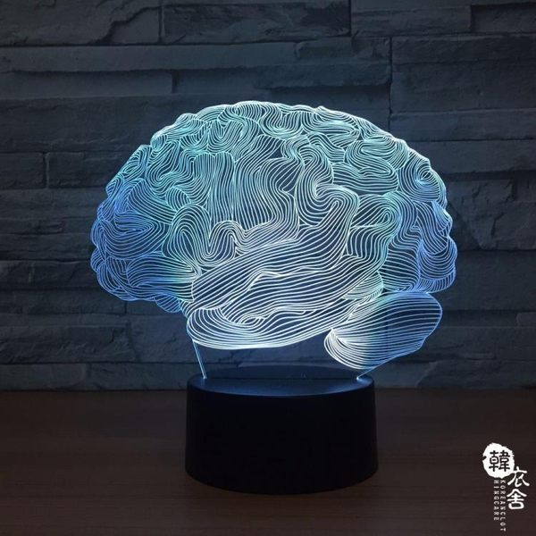 大腦造型3D LED七彩小夜燈創意電子產品藍牙音響燈1287【韓衣舍】