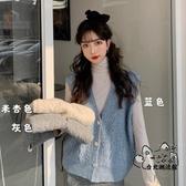 毛衣背心 秋季上衣2020新款韓版溫柔風針織衫女洋氣V領毛衣馬甲開衫外套潮 VK3331