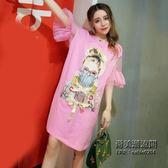 正韓氣質時尚網紗喇叭袖拼接寬鬆系帶印花T恤連身裙女裙子潮