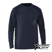 【PolarStar】男 吸排圓領剪接長袖衣『深藍』P20255 上衣 休閒 戶外 登山 吸濕排汗 透氣 長袖
