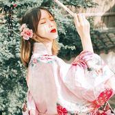 日本傳統女士長款正裝浴衣改良寫真和服演出孔雀花和服女