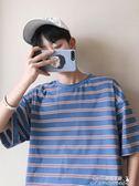 韓版bf男生半袖T恤條紋短袖夏寬鬆男裝潮流學生衣服提拉米蘇