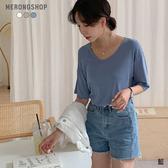 東京著衣-MERONGSHOP-日常必備多色莫代爾落肩素面T恤(E190050)