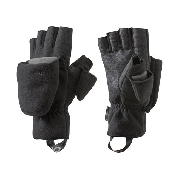 [OUTDOOR RESEARCH] (女) Gripper Convertible Gloves 防風保暖二指手套 黑 (OR253947-0001)