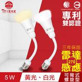 【TOYAMA特亞馬】LED雷達感應燈5W E27彎管式螺旋型