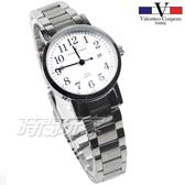 valentino coupeau 范倫鐵諾 都會愛情 不鏽鋼 數字 白色 日期顯示 防水錶 女錶 61605白數字小