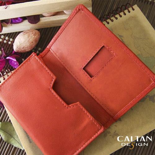 牛皮/名片夾【CALTAN】簡約橫式名片卡片夾-1801ht-red