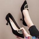 高跟鞋 網紅法式少女高跟鞋細跟尖頭2021秋冬新款百搭小清新職業黑色單鞋新品