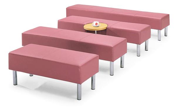 【 IS空間美學】粉紅皮等候沙發長椅-1S(四款尺寸可選)