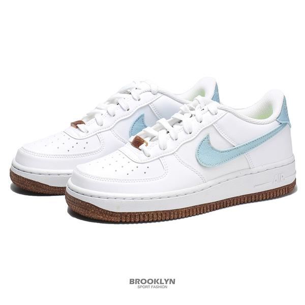 NIKE 休閒鞋 AIR FORCE 1 GS 白藍 單寧 花卉刺繡白 大童 女 (布魯克林) DA3093-100