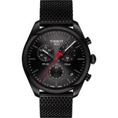 TISSOT天梭 PR100 經典米蘭帶計時手錶-鍍黑/41mm T1014173305100