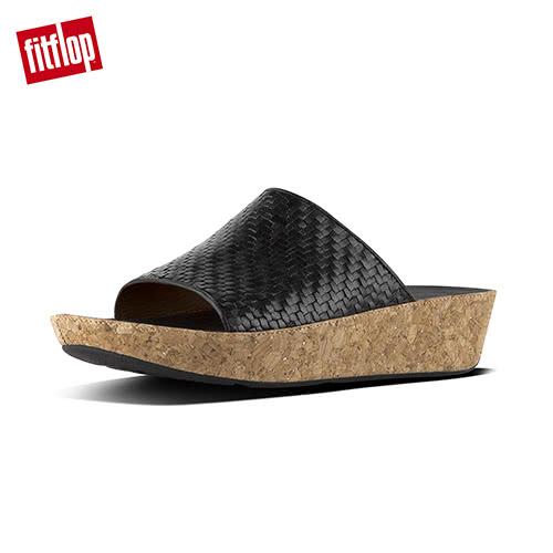 【FitFlop】BALI SLIDE SANDALS全皮革編織款涼鞋(黑色)