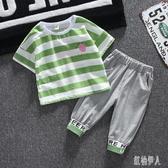 男童套裝夏款兒童夏裝寶寶夏季帥氣短袖條紋兩件套潮嬰兒時尚薄款 yu12622『紅袖伊人』