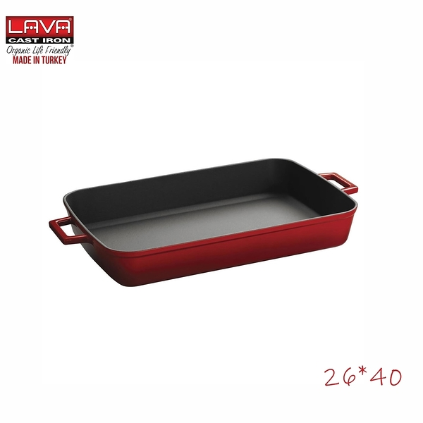 LAVA 雙耳長方鑄鐵琺瑯鍋 紅色(26*40cm)