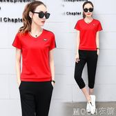 運動套裝女夏潮韓版時尚學生寬鬆顯瘦大碼短袖兩件套  MOON衣櫥