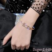 手鐲手鐲女冷淡風氣質網紅百搭滿鉆時髦手鍊女韓版簡約個性潮人首飾 熱賣 suger