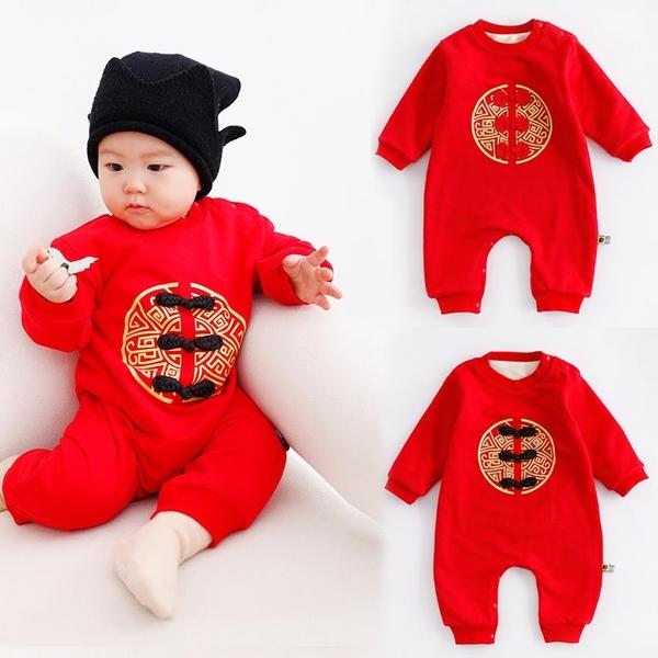 新生兒 刷毛寶寶中國結拜年大紅連身衣 兔裝 包屁衣 童裝 拜年服 過年 大紅 新衣 新年