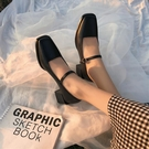 瑪麗珍鞋 網紅方頭單鞋女2021新款韓版百搭粗跟高跟小皮鞋日系復古瑪麗珍鞋 薇薇