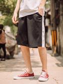 運動短褲 男工裝寬鬆拼接撞色休閒五分褲青年潮流黑色中褲