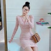 小洋裝 5093#韓版秋季氣質蕾絲V領收腰包臀修身連身裙NA71A快時尚