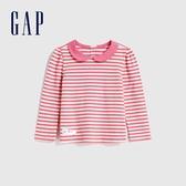 Gap女幼童 可愛風格泡泡袖娃娃領長袖 614891-粉色條紋