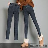打底褲女外穿2018新款韓版緊身鉛筆仿牛仔小腳黑色秋冬厚加絨『韓女王』
